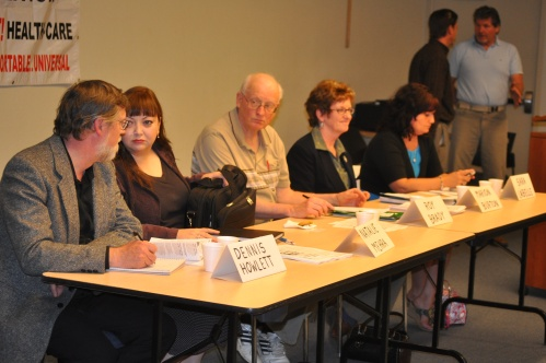 Panelists at the Peterborough health care forum Thursday night.