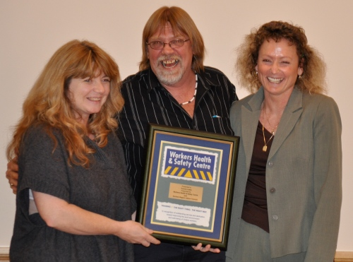 Local 331 Chief Steward receives the Workers Health and Safety Centre award on behalf of Yvonne Lewis. With her is Durham Labour Council President Jim Freeman and Kim Rushnell, Local 331 Secretary.