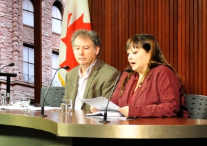 "OPSEU's Rick Janson joins OHC Director Natalie Mehra for the release of the coalition's ""Austerity Index."""