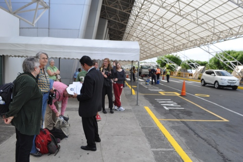 The contingent from Horizons of Friendship outside the Managua airport.