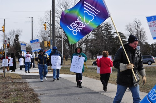 Kingston workers brave the cold February 1 to stand up for mental health care.