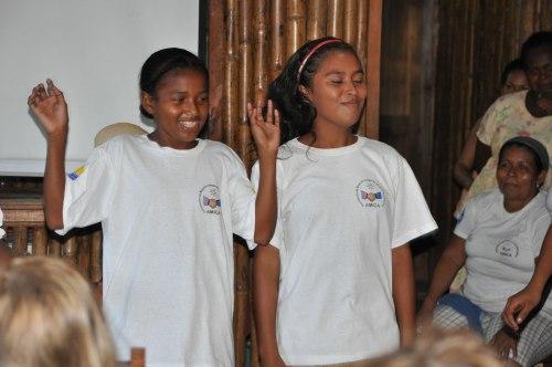 """Children participate in a """"cultural presentation"""" at AMICA."""