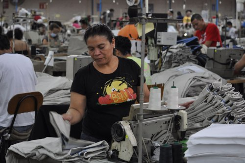 Factory workers make Levis Dockers at one of the better employers in the free trade zone.