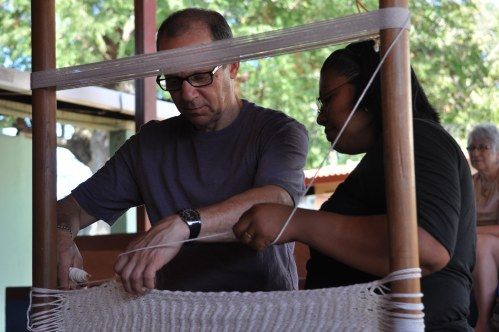 OPSEU's Jeff Arbus learns how to make a hammock.