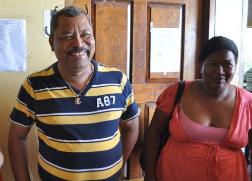 The Mayor of Puerto Cabezas (left) cuts out of class to greet us.