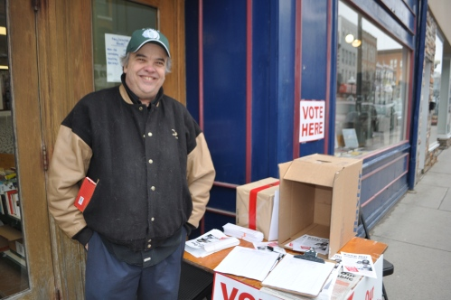 Kingston City Council's Jim Neill urges residents to vote on Princess Street.