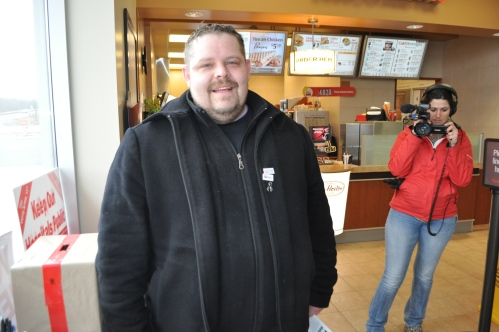 OPSEU Region 6 VP Chris Cormier hustles votes at a gas station/coffee shop on Highway 15.