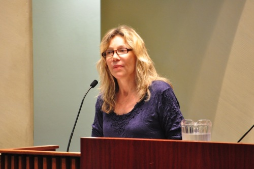 Linda McQuaig speaking at the Older Canadians Network forum Wednesday at Toronto City Hall.