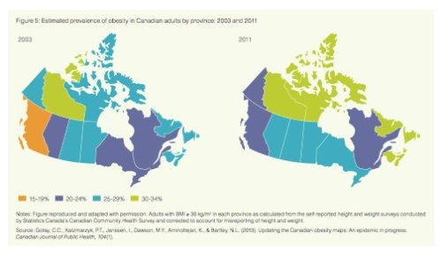Obsesity is on the rise in Canada. From the Health Council of Canada Progress Report 2013.