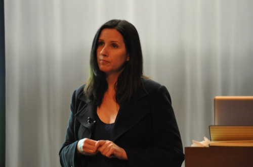 Ontario CCPA Director Trish Hennessy speaks in Whitby last night.