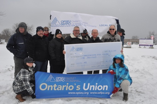 Collected from member donations, Local 431 presented $1,150 to Kingston Home Base Housing.