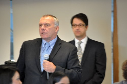 RVHS CEO Rik Ganderton with TSH CEO Robert Biron looking on during Wednesday's Central East LHIN Board meeting.