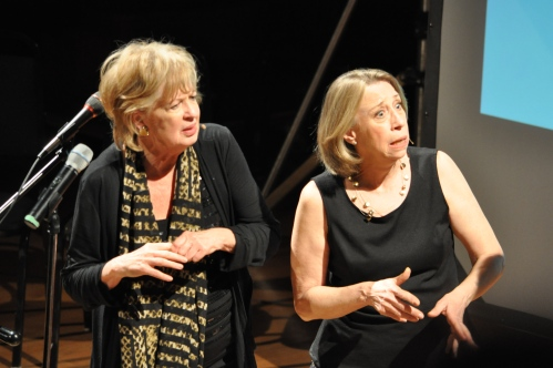 """Jayne Eastwood and Robin Duke, one half of""""Women Fully Clothed"""" performing at Holler 4 Health Care last night."""