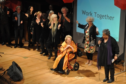 Actress Shirley Douglas shares the stage with Tabby Johnson, Jackie Richardson and other performers from Holler 4 Health Care.