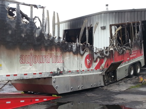 Photograph: A fire destroyed this  blood service mobile unit over the summer. Amid the lowest inventory levels in six years, CBS executives have decided not to replace it or the 7500 units of blood it collects annually.