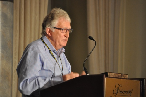 Photograph of professor Dexter Whitfield speaking at the NUPGE privatzation conference.