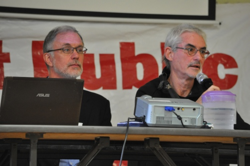 Photograph of Sean Meagher and Steven Shrybman at the Ontairo Health Coalition Action Assembly.