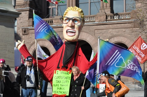 Picture of large 12 foot tall Kathleen Wynne Puppet.