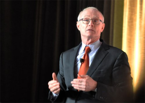 Photograph of Harvard professor Michael Porter speaking at this year's Ontario Hospital Association HealthAchieve.