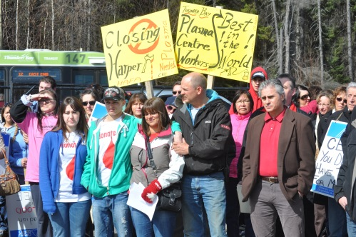 Picture of protest against the closure of the CBS Thunder Bay plasma clinic in 2012.