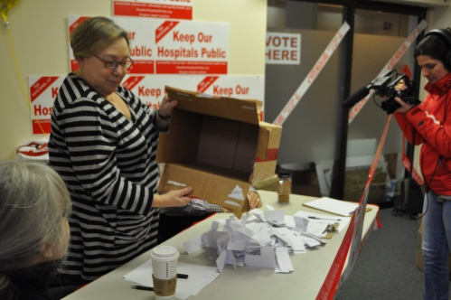 Photograph of ballot counting during the 2013 Ontario Health Coalition plebiscite on P3s in Kingston.
